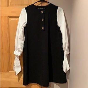 Zara navy dress. White tie sleeves.  Worn 1x.